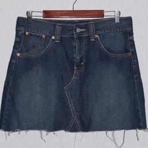 Levi's Distressed Dark Wash Denim Skirt